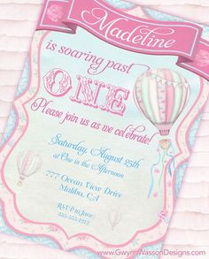 Hot air balloon invitation http://www.etsy.com/listing/105420112/hot-air-balloon-party-invitation-up-up?ref=listing_112567896