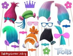 Trolls Photo Booth Props - Trolls Birthday Party - Trolls photobooth props - Trolls party props - instant download by TatiNgsCorner on Etsy https://www.etsy.com/listing/533996247/trolls-photo-booth-props-trolls-birthday