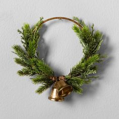 Hearth and Hand Artificial Pine Brass Ring Wreath