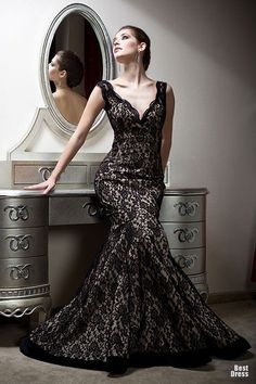 Glamorous Black Lace Evening Gown fashion wedding dress black lace prom formal gown evening