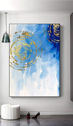 Abstract gold foil ripple blue background wall art home decor kids room Nordic style ink brush painting simple fashion printable art C. Large Canvas Art, Abstract Canvas, Canvas Wall Art, Wall Art Prints, Kids Abstract Art, Blue Abstract Painting, Abstract Paintings, Oil Paintings, Painting Art
