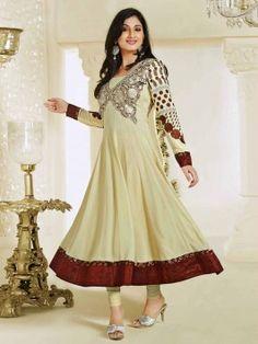 Cream Georgette Anarkali Suit With Resham Work www.saree.com