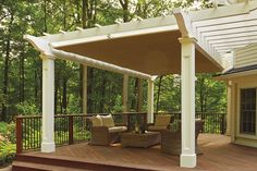 This hybrid pergola with a ShadeFX retractable pergola canopy is an example of great outdoor living design with maximum utility.