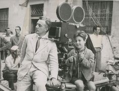 Vittorio de Sica and Enzo Staiola filming Bicycle Thieves (1948)