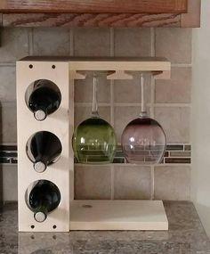 Wine rack with Stemware holder Countertop model Wood Pine or | Etsy