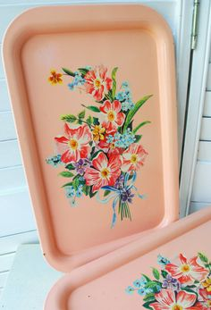 Vintage colorful floral metal pink tray, flowers, memo board, snack tray, shabby chic, cottage decor