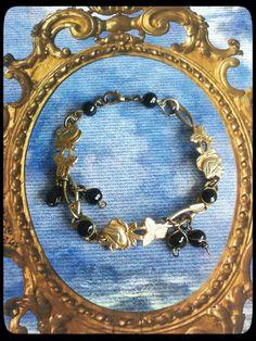 Handmade gold and black spoon roses bracelet by AnnasHaberdashery on Etsy