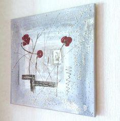 tableau abstrait gris et trio fleuri rouge : Peintures par peinture-crea