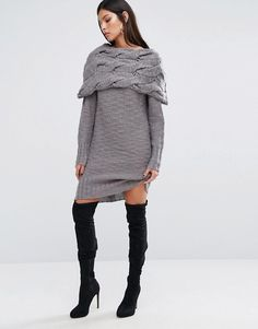 River Island Studio Chunky Cable Knit Sweater Dress at asos.com - Comfy, stylish and unique! Pair with OTK boots, booties or heels to dress this up.
