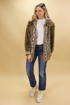 Leopard Print Coat Leopard Print Coat, Vintage 70s, Real Leather, Beige, Sweaters, Jackets, Shopping, Fashion, Down Jackets