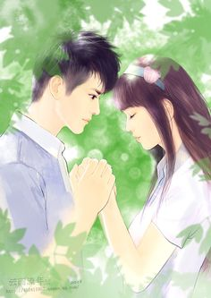 first love by hiliuyun on DeviantArt Cute Couple Cartoon, Cute Couple Art, Anime Love Couple, Cute Anime Couples, Best Couple Pictures, Romantic Pictures, Cute Love Wallpapers, Devian Art, Lovely Girl Image