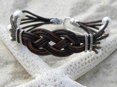 Pearls, leather, & silver bracelet . . . . ღTrish W ~ http://www.pinterest.com/trishw/ . . . . #handmade #jewelry