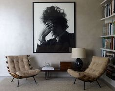 Idee angolo lettura casa moderna minimal - Grande  quadro con una fotografia di Bob Dylan