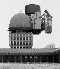 """In his recent series """"Archisculpture Collage,"""" Korean artist Beomsik Won creates images of nonexistent architecture through collages of existing buildings."""