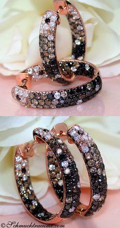 Stunning: Black, White & Brown Diamond Earrings, 5,22 cts. RG-14K -- Find out: schmucktraeume.com - Like: https://www.facebook.com/pages/Noble-Juwelen/150871984924926 - Contact: info@schmucktraeume.com