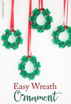 Christmas Crafts for Kids: Beaded Ornament Wreaths - Consumer Crafts , Looking for fun Christmas crafts for kids? These fun bead wreath ornaments are easy to assemble and are a great craft for kids of all ages! Kids Christmas Ornaments, Christmas Activities For Kids, Christmas Crafts For Kids, Diy Crafts For Kids, Christmas Fun, Holiday Crafts, Diy Ornaments, Christmas Design, Kids Ornament
