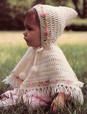 VINTAGE Baby Poncho & Hood/Crochet Pattern Instructions Crochet Toddler, Crochet For Kids, Crochet Ideas, Crochet Baby, Knit Crochet, Baby Poncho, Kids Poncho, Crochet Poncho Patterns, Baby Sweaters