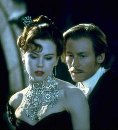 """Nicole Kidman and Richard Roxburgh in """"Moulin Rouge!"""" (2001)  Necklace contained 1,308 diamonds with an estimated value of 1 million dollars.  Designed by Stefano Canturi."""