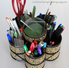 DIY Desk Organizer take 30 minutes DIY DORM IDEAS --> could possibly use this as a make up brush holder instead hmmm