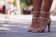 Studded strappy heels.