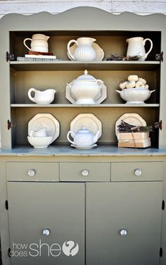 Hutch gets a new life with some paint. Perfect for displaying all those beautiful dishes.
