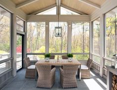Glass Enclosed Patio - Design photos, ideas and inspiration. Amazing gallery of interior design and decorating ideas of Glass Enclosed Patio in decks/patios, pools by elite interior designers. Home Design, Patio Design, Design Ideas, Garden Design, Modern Design, Patio Steps, Screened Porch Designs, Screened In Porch, Front Porch