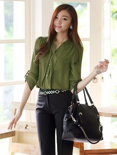 6e634405862d Resembles the Colibri Solid Tab-Sleeve Blouse I received in my. Ruosi Wang  · Professional Summer Outfits
