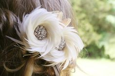 Ivory Bridal Fascinator Wedding Headpiece Bridal by FancieStrands,