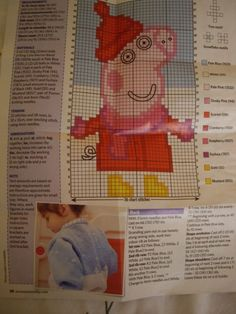 Peppa Pig Knitting Pattern for Childs Jumper for sale online Baby Sweater Knitting Pattern, Baby Sweater Patterns, Easy Knitting Patterns, Knitting For Kids, Peppa Pig, String Bag, Knitted Bags, Baby Sweaters, Cross Stitch Embroidery