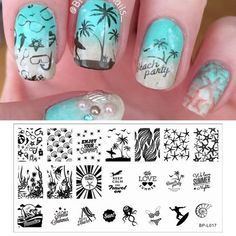 Cheap art rag, Buy Quality art cylinder directly from China art mold Suppliers: Summer Beach Sea Image Nail Stamping Plates Nail Stamp Template Acrylic Nails, Gel Nails, Nail Polish, Nail Nail, Nagel Stamping, Rainbow Nail Art, Image Nails, Image Plate, Disney Nails