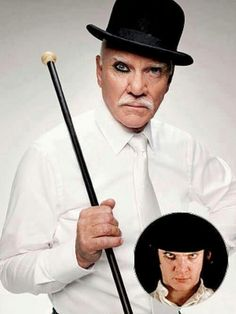 Malcolm McDowell reprising his character in A Clockwork Orange (1971). Fab!