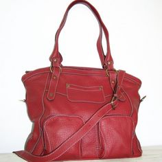 Cherry Red Leather Tote Handbag Magui L