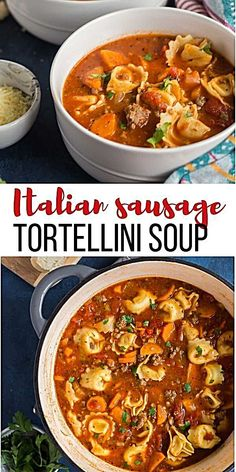 Sausage Tortellini Soup [step by step VIDEO] – The Recipe Rebel This Sausage Tortellini Soup is a tomato-based soup loaded with vegetables, Italian sausage and cheese tortellini. It's the perfect cold weather soup and freezer friendly! Slow Cooker Tortellini Soup, Italian Sausage Tortellini Soup, Tomato Tortellini Soup, Slow Cooker Soup, Cheese Tortellini Recipes, Soup With Italian Sausage, Pasta Cheese, Cheese Soup, Soups