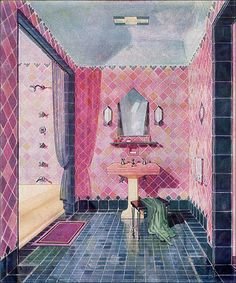 1929 Bathroom Design — Art Deco This is a beautiful illustrated image from a 1929 Kohler ad for an Art Deco style bathroom. Great colors and something that would be reproducible today. Notice the absence of subway tile. 1920s Bathroom, Art Deco Bathroom, Vintage Bathrooms, Bathroom Designs, Kohler Bathroom, Bohemian Bathroom, Bathroom Interior, Art Nouveau, Vintage Room