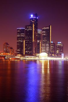 The Detroit skyline as viewed from Riverside Drive in Windsor, Ontario Canada - by Gordon Dean II