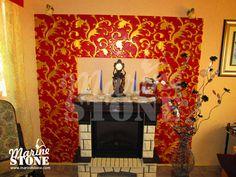 """Мастерская MarineStone - Гостиная с отделкой стены Панелями 3D (рельефными панелями) из гипса вида """"Паттерн"""" (""""узор""""). Панели окрашены акриловыми красками. Decor, Home, Stone, Fireplace, Home Decor"""