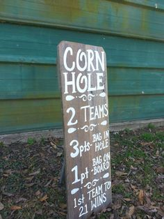 CORN HOLE Sign. Game Rules Board. Lawn Games. Rustic Country Wedding