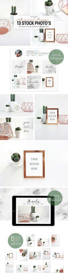 Minimal bronze mug + frame mockup stock photos by Skyla Design on @creativemarket