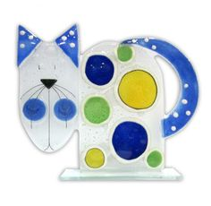 Fused Glass Cat - Blue by Nobile Glassware. Available from Artworx Gallery, Shropshire. www.artworx.co.uk