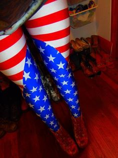 American+dream+inspired+leggings.+Red+and+white+stripes+with+blue+and+white+stars+inlay.+HIgh+waisted.+Cool+fact:+They+have+been+in+one+fashion+show+at+Greenhouse+and+also+on+Elle+Japan's+fashion+blog!
