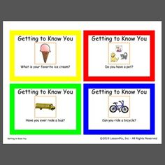 Use these cards as conversation starters. Great for small group discussions. Conversation Starters, Teaching Strategies, Getting To Know You, Task Cards, Speech Therapy, Small Groups, Curriculum, Knowing You, Classroom