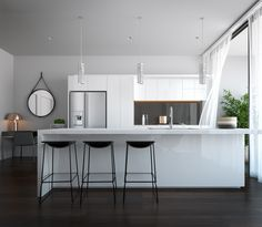 Kitchen Iron Black Painted Bar Stool Wooden White Kitchen Island Parquet Brown Varnished Floor White Wall Vintage Iron Mirror Frame Clear Pendant Lamp Glass Bay Window Open Space Professional Designer Latest Kitchen Pros Show Us Your Latest Kitchen!