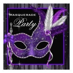 Custom Elegant Black and Purple Masquerade Party Personalized Invite created by Pure_Elegance. This invitation design is available on many paper types and is completely custom printed. Masquerade Party Invitations, Masquerade Party Decorations, Masquerade Theme, Quinceanera Invitations, Quinceanera Party, Birthday Party Invitations, Masquerade Ball, Quince Decorations, Sweet Sixteen Invitations