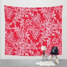 Sweet Tea Wall Tapestry by Vikki Salmela, #red, #pink #English #garden #floral gives a room a #romantic #lovely feel. Coordinating products available; #clocks, throw #pillows, throw #blankets, #duvet covers, #rugs and more. Perfect for your sweet #Valentine!