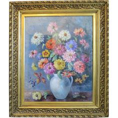 Painting oil on canvas depicting colorful Zinnias, signed ,dated early : Chateau Antique Vintage Gifts, Vintage Books, Zinnias, Ruby Lane, Antique Silver, Oil On Canvas, Colorful, Fine Art, Shops