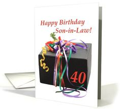 son-in-law 40th birthday gift with ribbons card