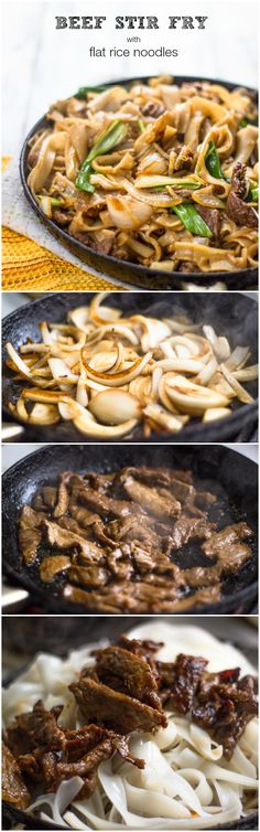 The Best Beef Stir Fry With Flat Rice Noodles Asian Dinner Asian Recipes, Beef Recipes, Cooking Recipes, Healthy Recipes, Rice Recipes, Yummy Recipes, Recipies, I Love Food, Good Food