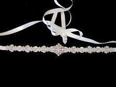 Bridal Wedding Dress Rhinestone Beaded Crystal Embellished Belt Sash. $200.00, via Etsy.