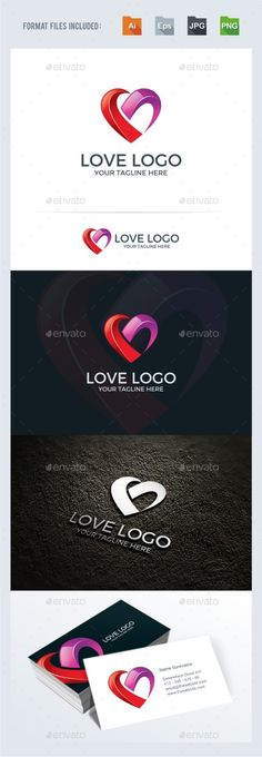 Love / Heart Logo Template — Transparent PNG #bosom #software • Available here → https://graphicriver.net/item/love-heart-logo-template/14803136?ref=pxcr