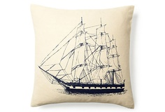 Vintage Ship Pillow, Hemp on OneKingsLane.com